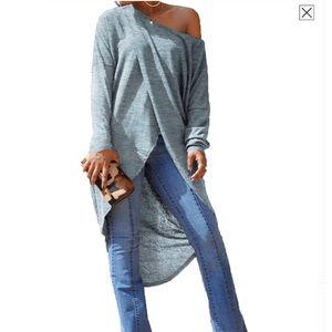 New One Shoulder Gray Maxi Shirt SZ MD